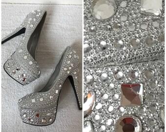 STUNNING BEADED// Crystal Gray Platform Heels// Size 9 // Wedding Homecoming Prom Formal // Glass Heels // Cinderella Heels