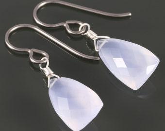 Pale Blue Chalcedony Earrings. Titanium Ear Wires. Unique Triangle Shape. Genuine Gemstone. Lightweight Earrings. f17e062