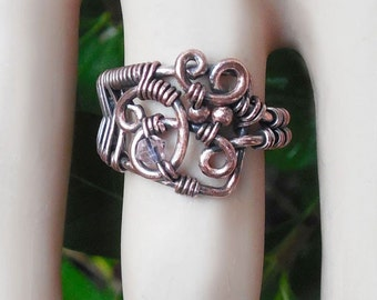 Wire wrap ring, size 5 ring, unique rings, wire jewelry, wire rings, bohemian ring, copper rings, wire wrapped jewelry, funky rings