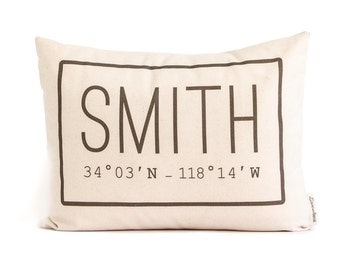 Family Name Pillow, Customized Housewarming Gift,  Cotton Anniversary, 2nd anniversary, Gift for Him, Rustic Home Decor, Fixerupper Pillow