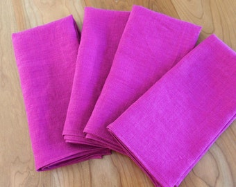 Linen Napkins (4 or 6) in Fuchsia, Dark Pink, Magenta, Large Dinner Napkins, Flax Napkins, Purple Wine Linen