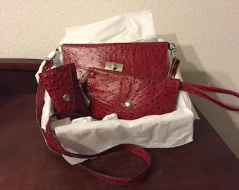 ENCORE\Red Leather Small Shoulder bag, Wristlet and Coin Purse