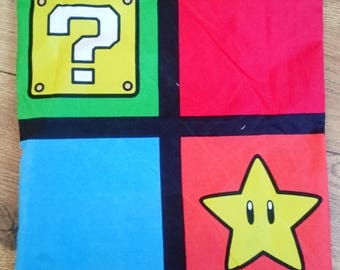 Nintendo mario luigi question block toad pattern square windows character logos multi cushion covers