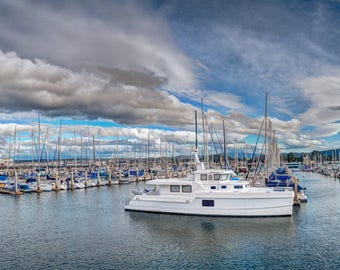 Marina Cloudscape - boats,marina,monterey,california,blues,dramatic,clouds,panorama,wide,home decor,office decor