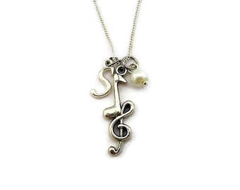 Treble Clef Necklace Initials Music Notes Necklace Music Necklace Music Jewelry Glass Pearl Necklace Letter Necklace Birthstone Necklace