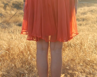 SHERBERT Vintage 1960's Shift Dress Party Boho Layers Orange Chiffon Mini