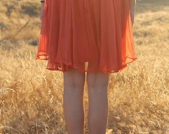SHERBERT Vintage 1960's Shift Dress Party Boho Layers Orange Chiffon Mini