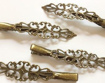 10 pcs Aligator Hair Clip,antique Bronze,flat Hair Clip,brass hair clip,hair clip,Aligator hair clip,hair accessories,feather hair clip,