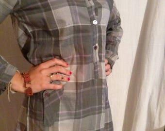 Shirt tunic long sleeve cotton Plaid