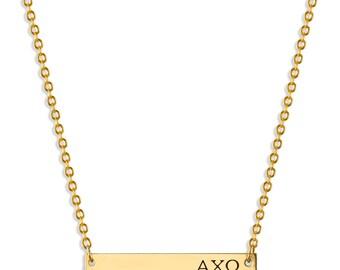 Alpha Chi Omega Sorority Bar Necklace / Alpha Chi Omega Necklace / Sorority Necklace / Sorority Gift / Big Little Gift / Sorority Jewelry