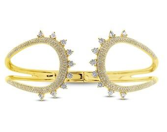 Beautiful 2.08ct 14k Yellow Gold Diamond Bangle, Spiked Spikey Spike Stud Studded Diamond Bangle,