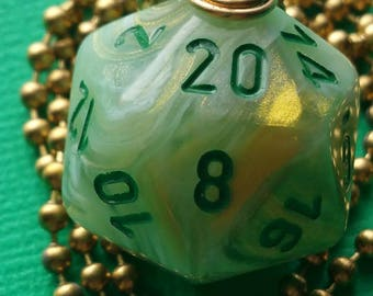 NEW STYLE - Dungeons & Dragons - D20 Die Necklace - Marble Green/Dark Green