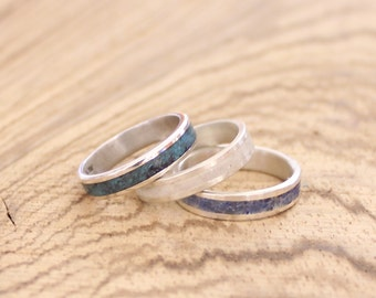 Women's band sterling silver wedding ring with crushed gemstone inlay - choose your stone