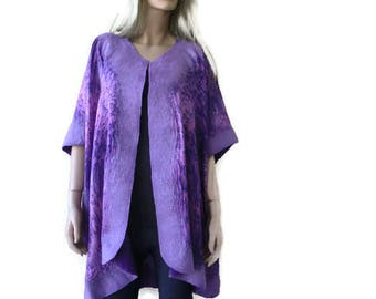 Violet Dawn Nuno Felt and silk Reversible Poncho ,ruana ,wrap- Amazing opera top in my beloved Kimono style-Only one available