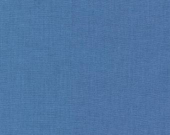 "Fabric Remnant, Delft Kona Cotton, Blue Fabric, Robert Kaufman Fabric, 14"""