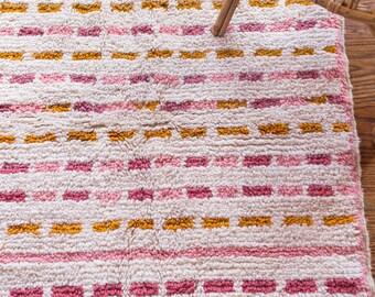 Striped Shag Rug, Moroccan Rug, Berber Rug, Kitchen Rug, Beni Ourain, Pink Rug, Small Rug, Boucherouite, Boho Rug, Nursery Rug, Kids Rug