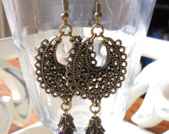 gypsy chandelier earrings purple bohemian earrings gypsy earrings dangle stone earrings bronze filigree bohemian earrings boho earrings