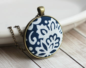 Navy Boho Necklace, Bohemian Jewelry, Floral Fabric Pendant, Blue And White