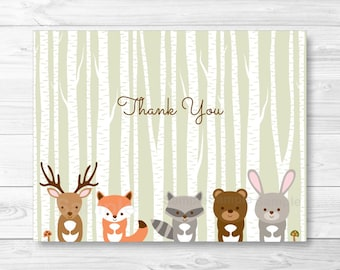 Woodland Forest Animals Folded Thank You Card Template / Fox Deer Bear Raccoon / Woodland Baby Shower PRINTABLE Instant Download A187