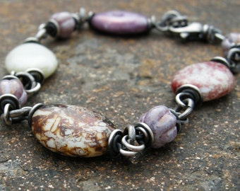 czech glass bracelet, purple bead bracelet, women's bracelet, glass bead jewelry