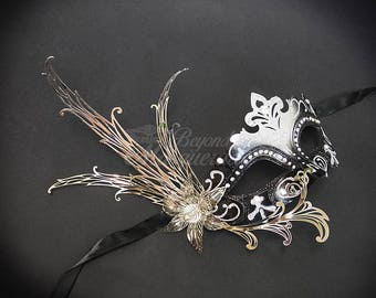 New Masquerade Mask, Black/Silver Venetian Masquerade Mask, Silver Masquerade Mask, Mardi Gras Masquerade Mask
