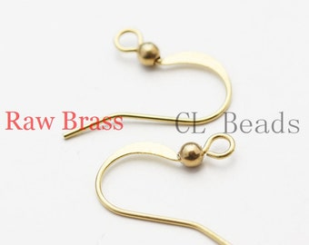 60 Pieces Raw Brass Earring Hooks with Ball - Shepherd Hook Ear Wires -17x17mm (1829C-U-20)