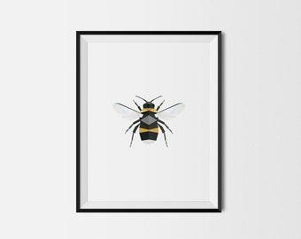 Geometric Art Print, Nursery Art, Baby Room Art, Bee Art Print, Minimal Art Print