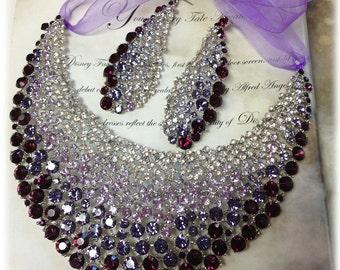 Wedding jewelry, Bridal jewelry set , crystal bib necklace earrings , bridal necklace statement, purple crystal jewelry set, evening jewelry