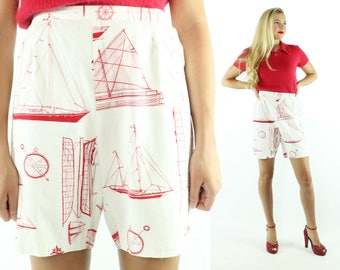 Vintage 60s High Waisted Shorts Sailboats Boats Long Bermuda Red White Cotton 1960s Large L Pinup Rockabilly