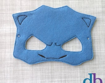 Felt Embroidered Mask - Tank Turtle Mask - Kid & Adult - Pretend Play - Costume Party - Pokemon Go