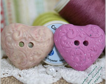 -2 buttons made of polymer clay - hearts - romantic Collection - 25X22mm - set of 2-