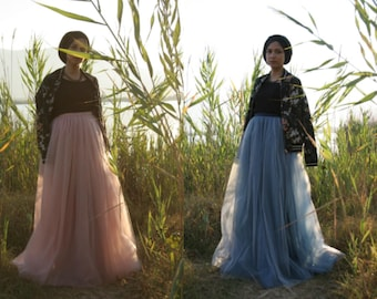 Maxi tulle skirt tulle skirt long ombre tulle skirt floor length skirt full length skirt spring skirt evening skirt muslim fashion