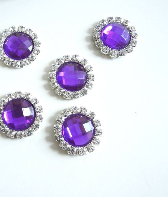 10 Purple rhinestone cabochons -  Purple metal cabochons - Synthetic crystal cabochons - Rhinestone purple round cabochons
