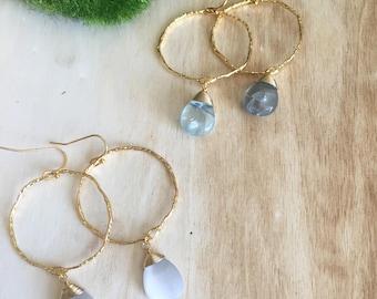 Gemstone gold dangle earrings, gemstone earrings, hammered gold, flourite gemstone