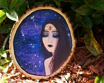 Warrior Woman in Space/Galaxy Painting on Wood Slice