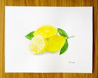 Lemons watercolor, original watercolor painting, lemon art, citrus painting 12 x 9 inch