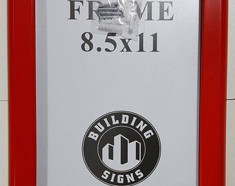 Red Snap Frame 8.5x11 Inches Front Loading Quick Poster Change, Wall Mounted, HEAVY DUTY