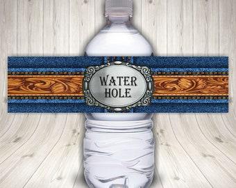 Western Denim Cowboy Water Bottle Label, Birthday Party, Cowgirl, Wrangler Jeans, Blue Jeans Western Wear, Rodeo, Blue Denim