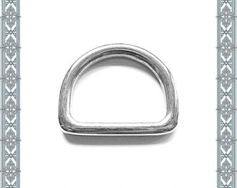 6 pieces D-rings 38 mm through silver-plated solid D-ring inner ring