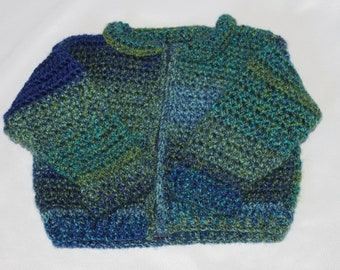 Blue and Green Crocheted Sweater