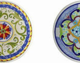 Blue Tones Talavera Style Knobs  Set of 4 Drawer Pulls or Cabinet Knobs