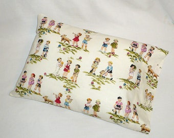 Pillow Sham, Retro, Kids, Children, Play,  travel size, 12 x 18 inches, OOP fabric
