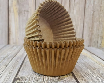cupcake liners (50) count - Gold solid cup cake liners, baking cups, muffin cups, standard size, grease proof