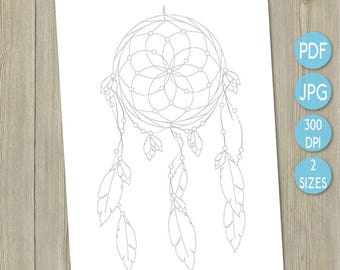 Colouring printable dreamcatcher printable adult colouring in native American inspired adult coloring book art therapy colour therapy