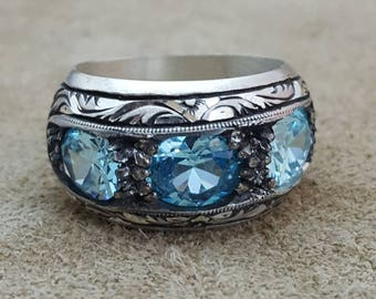 Handmade Silver Mens Ring With Aquamarine
