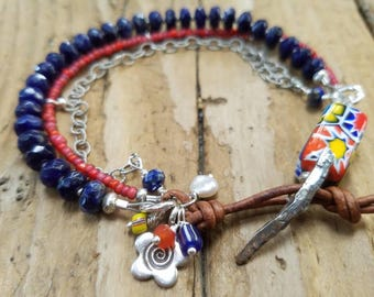 Lapis and African Trade Bead Bracelet with Hill Tribe Silver, Venetian Glass Bead, African White Heart Trade Bead