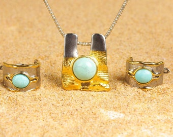18k Gold Vermeil Turquoise Pendant and Earrings Set
