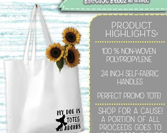 Non-woven everyday tote *A portion of proceeds goes to help local rescue pups* More designs to come