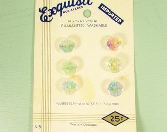AB Crystal Sewing Buttons - Vintage West Germany on Original Sales Card