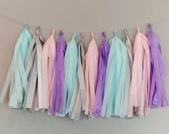 Unicorn Garland Tissue Tassels with Silver